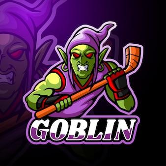 Design della mascotte del logo esport goblin