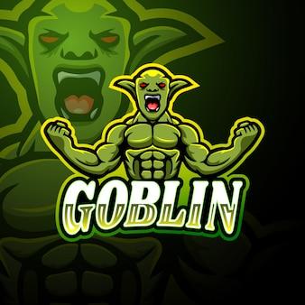 Design della mascotte logo goblin esport