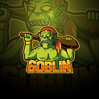 Disegno del logo mascotte esport goblin
