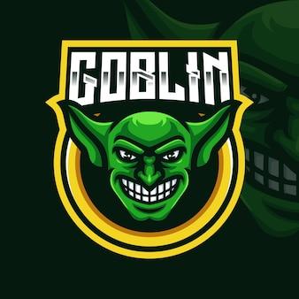Modello di logo di gioco della mascotte della testa di goblin per lo streamer di esports facebook youtube