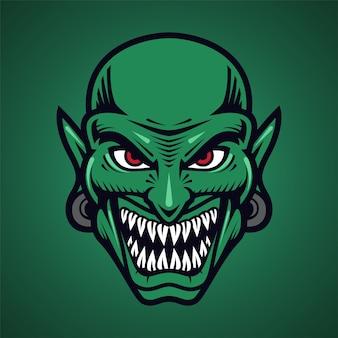Logo della mascotte della testa di goblin