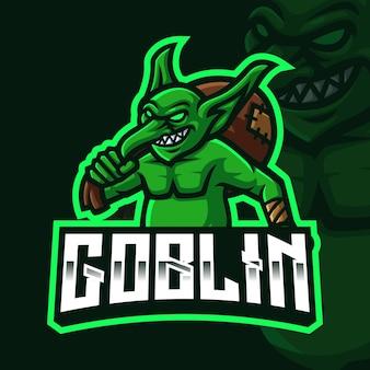 Modello di logo di gioco della mascotte dei goblin per lo streamer di esports facebook youtube