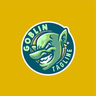 Modello logo mascotte goblin