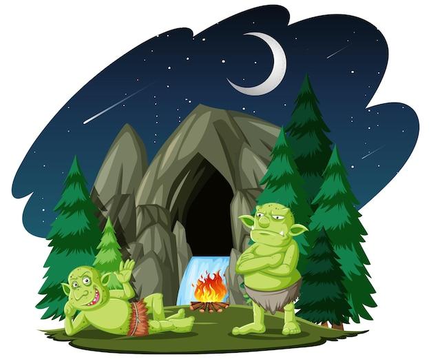 Goblin o troll con stile cartone animato grotta di pietra isolato