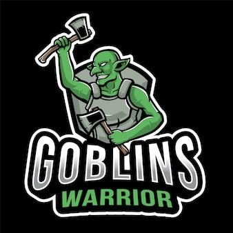 Modello di logo di esport guerriero goblin