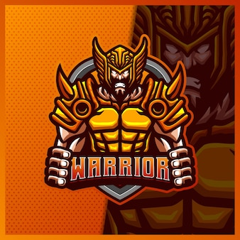 God viking gladiator warrior mascotte esport logo design modello illustrazioni, logo roman knight