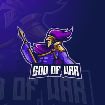 God of war esport mascot logo design illustration
