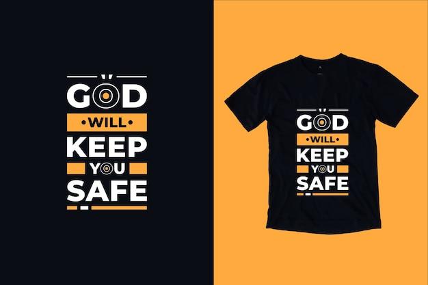 Dio ti terrà sicuro citazioni moderne t shirt design