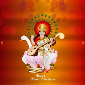 Illustrazione e sfondo della dea saraswati