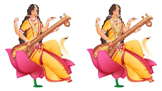 Carattere della dea saraswati maa sul fiore di loto in due immagini