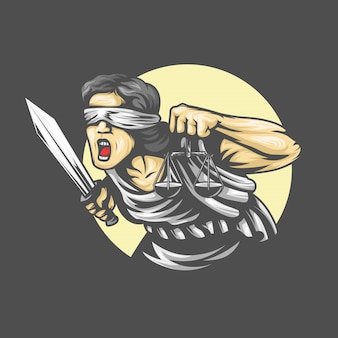 La dea themis con una spada della giustizia e pesi nelle sue mani. urlando emozione. illustrazione