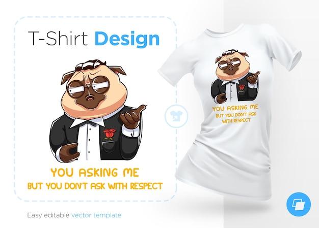 Illustrazione del cane del padrino carlino e design della t-shirt