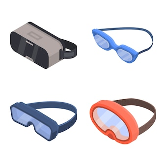 Set di icone di occhiali. l'insieme isometrico degli occhiali di protezione vector le icone per web design isolato su fondo bianco