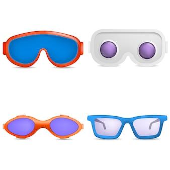 Set di icone di maschera di vetro di sci di occhiali. un'illustrazione realistica di 9 occhiali di protezione sci icone vettoriali di vetro per il web