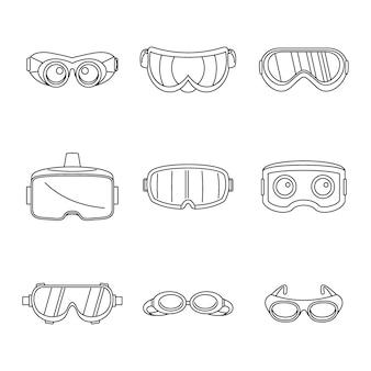 Set di icone di maschera di vetro di sci di occhiali