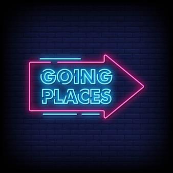 Andare luoghi insegne al neon stile di testo