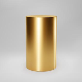 Vista frontale del cilindro 3d oro con prospettiva isolata su sfondo grigio. colonna cilindrica, pipa dorata, palcoscenico museale, piedistallo o podio del prodotto. vettore di forma geometrica di base 3d.