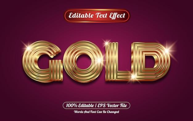 Modello di stile effetto testo modificabile oro 3d