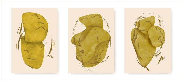 Forma astratta dell'acquerello dell'oro per l'arte della parete