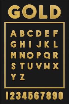 Vettore di alfabeto oro