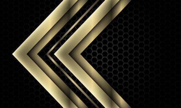 La direzione della freccia d'oro si sovrappone geometrica esagono metallico scuro di lusso sfondo futuristico vettore
