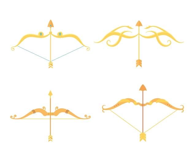 Set di icone antiche di archi e frecce d'oro