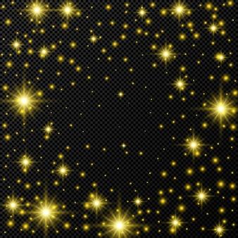Sfondo oro con stelle e scintillii di polvere isolati su sfondo trasparente scuro. illustrazione vettoriale.