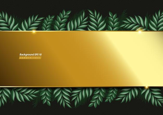 Immagine di sfondo oro e foglia su colore verde scuro.