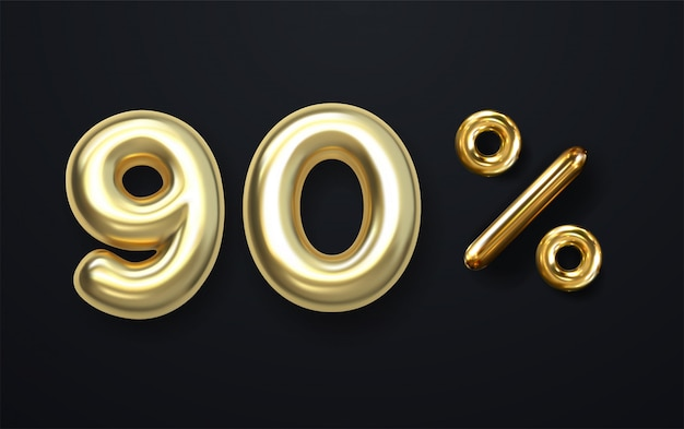 Palloncino d'oro impostato 9, 0,%,? fatto di realistico rendering 3d mongolfiera. raccolta del numero di palloncini con tracciato di ritaglio pronto per l'uso per la tua decorazione unica