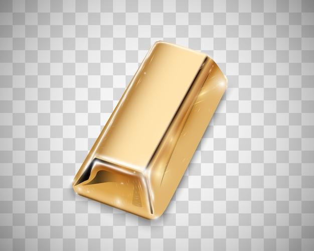 Lingotto d'oro isolato su sfondo trasparente.