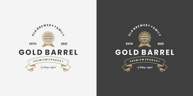 Barile d'oro, vecchia fabbrica di birra, design del logo del whisky vintage