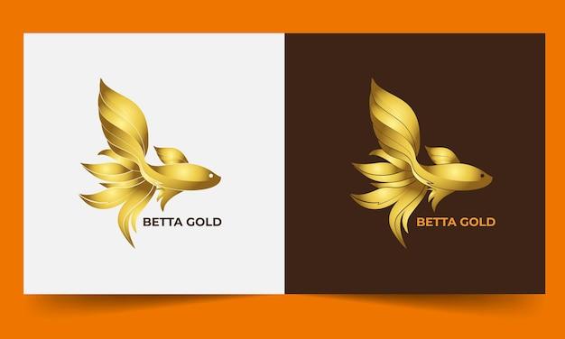 Modello di logo di pesce betta d'oro