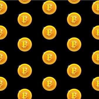 Modello senza cuciture di monete d'oro bitcoin. valuta internet digitale, sfondo