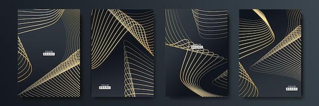 Set di design di sfondo di lusso in oro e nero