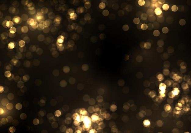 Luce sfocata del bokeh dell'oro. glitter astratto sfocato stelle lampeggianti e scintille.