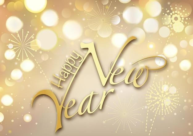 Cartolina d'auguri di felice anno nuovo oro bokeh