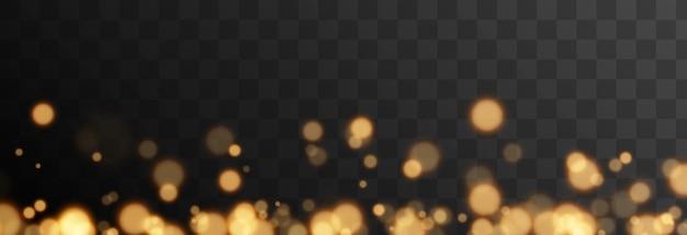 Bokeh oro su sfondo trasparente isolato effetto luce png bokeh sfocato png