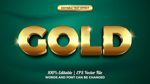 Stile modello effetto testo modificabile 3d lucido audace oro