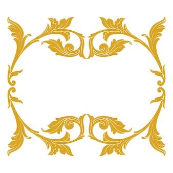 Bordo e cornice in oro con stile barocco. elementi di ornamento