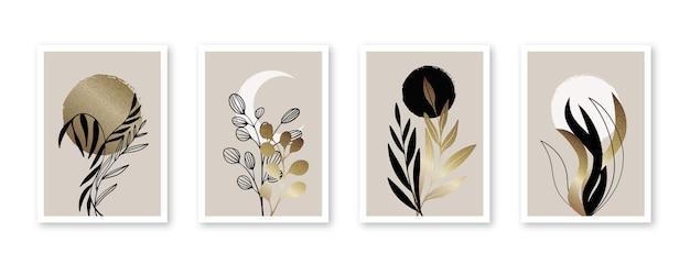 Collezione di copertine botaniche in oro