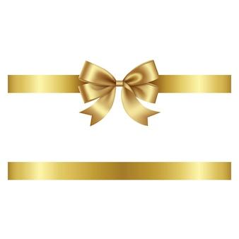 Fiocco d'oro e fiocco vettoriale con nastro per decorazioni natalizie e di compleanno
