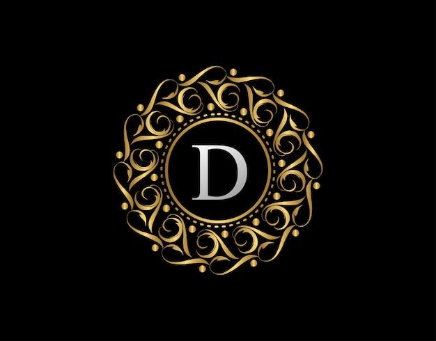 Distintivo calligrafico in oro con lettera d. logo dorato di lusso ornamentale.