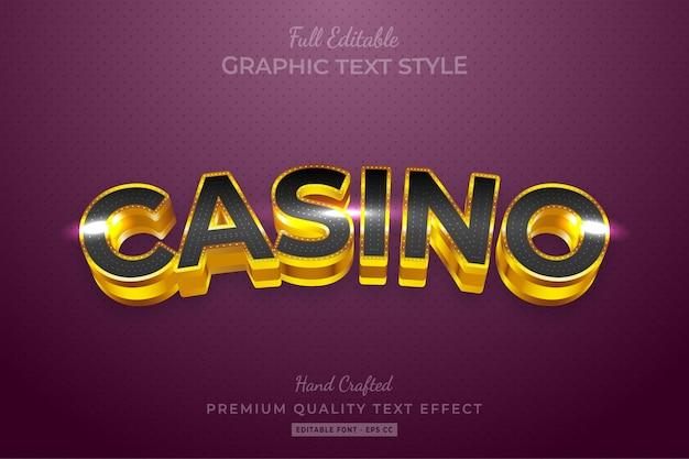 Gold casino modificabile stile di testo personalizzato effetto premium