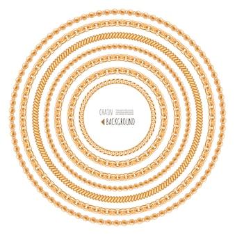 Modello di telaio rotondo catene d'oro isolato su bianco.
