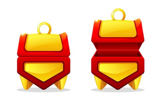 Forzieri d'oro aperti e chiusi per il gioco. set di scatole vuote isolate.