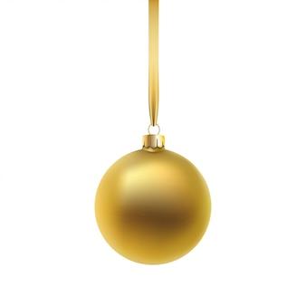Palla di natale d'oro, su sfondo bianco.