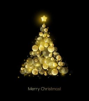 Cartolina d'auguri nera dell'albero di natale dell'oro