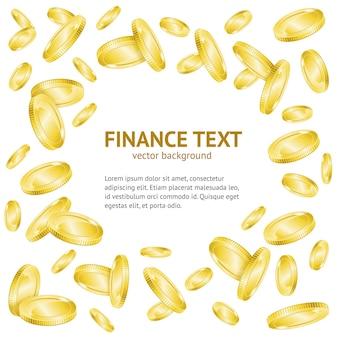 Fondo del telaio dei soldi della moneta d'oro con modello di testo di esempio