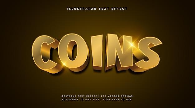 Effetto del carattere del testo del tema 3d delle monete d'oro