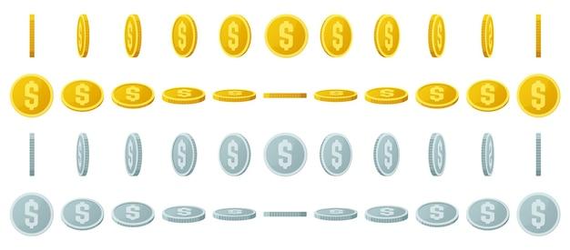 Animazione di monete d'oro. gira monete d'oro e d'argento, rotazione lucida delle monete da gioco per il set di illustrazioni dell'interfaccia di gioco